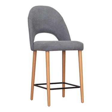 Барный стул Маллин, ножки под бук, серый велюр