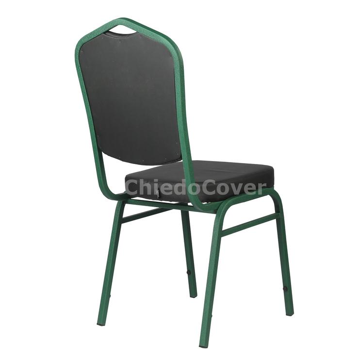 Стул Хит 20мм, зеленый, черный кожзам